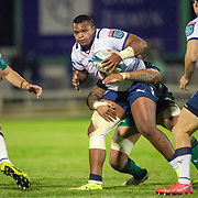 GALWAY, IRELAND:  October 01:  Simphiwe Matanzima #17 of Vodacom Bulls is tackled during the Connacht V Vodacom Bulls, United Rugby Championship match at The Sportsground on October 1st, 2021 in Galway, Ireland. (Photo by Tim Clayton/Corbis via Getty Images)