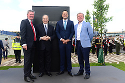Taoiseach Leo Varadkar (second right), HH Aga Khan (second left), Padraig McManus and minister Michael Creed (right) at the opening of the Curragh Racecourse and The Aga Khan Stand during day two of the Curragh Spring Festival at Curragh Racecourse, County Kildare.
