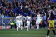 Tranmere Rovers Players celebrate Jason Koumas' (2nd left) scoring their teams first goal. Skybet football league one match, Tranmere Rovers v Notts county at Prenton Park in Birkenhead, England on Saturday 15th March 2014.<br /> pic by Chris Stading, Andrew Orchard sports photography.