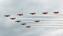 RAF Red Arrows, Farnborough International Airshow, London Farnborough Airport UK, 15 July 2016, Photo by Richard Goldschmidt