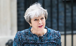 Downing Street, London, May 3rd 2017. British Prime Minister Theresa May addresses the press outside 10 Downing Street following her visit to Buckingham Palace to seek the Queen's permission to dissolve Parliament ahead of the general election to be held on June 8th 2017.