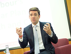Andy Burnham MP, Labour's Shadow Health Secretary launches Labour's 10-year plan for health and social care services<br /> 27th January 2015 at The King's Fund, London, Great Britain <br /> <br /> Andy Burnham <br /> <br /> <br /> <br /> Photograph by Elliott Franks <br /> Image licensed to Elliott Franks Photography Services