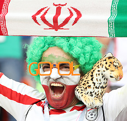 June 25, 2018 - Saransk, Russia - A fan of Iran cheers prior to the 2018 FIFA World Cup Group B match between Iran and Portugal in Saransk. The game need in a draw 1-1. (Credit Image: © Ye Pingfan/Xinhua via ZUMA Wire)
