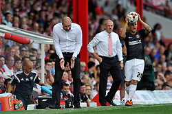 Charlton Athletic Manager, Bob Peeters offers tactical advice to his players - Photo mandatory by-line: Patrick Khachfe/JMP - Mobile: 07966 386802 09/08/2014 - SPORT - FOOTBALL - Brentford - Griffin Park - Brentford v Charlton Athletic - Sky Bet Championship - First game of the season