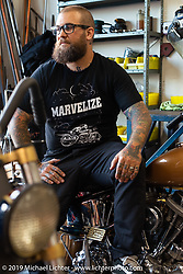 Danny Payne from Salt Lake at Jeff Leighton and Dave Polgreen's The Wretched Hive shop just before the start of the Born Free 9 Motorcycle Show. Santa Ana, CA. USA. Wednesday June 21, 2017. Photography ©2017 Michael Lichter.