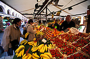 Shoppers browsing through fruit at a farmers market, Venice, Italy. ..Subject photograph(s) are copyright Edward McCain. All rights are reserved except those specifically granted by Edward McCain in writing prior to publication...McCain Photography.211 S 4th Avenue.Tucson, AZ 85701-2103.(520) 623-1998.mobile: (520) 990-0999.fax: (520) 623-1190.http://www.mccainphoto.com.edward@mccainphoto.com...