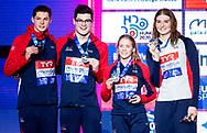 Team Great Britain Silver Medal<br /> 50 backstroke women Final<br /> Glasgow 07/12/2019<br /> XX LEN European Short Course Swimming Championships 2019<br /> Tollcross International Swimming Centre<br /> Photo  Giorgio Scala / Deepbluemedia / Insidefoto