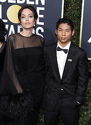 75th Annual Golden Globes. 07 Jan 2018 Pictured: Angelina Jolie, Pax Jolie Pitt. Photo credit: MEGA TheMegaAgency.com +1 888 505 6342