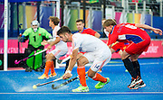 The Netherlands Robbert Kemperman gets a shot away. Russia v The Netherlands - Unibet EuroHockey Championships, Lee Valley Hockey & Tennis Centre, London, UK on 25 August 2015. Photo: Simon Parker