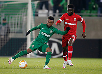 RAZGRAD, BULGARIA - OCTOBER 22: Ampomah of Antwerp competes against Cicinho of Ludogorets during the UEFA Europa League Group J stage match between PFC Ludogorets Razgrad and Royal Antwerp at Ludogorets Arena on October 22, 2020 in Razgrad, Bulgaria. (Photo by Nikola Krstic/MB Media)