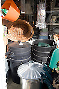 Bins and baskets outside hardware shop, Aldeburgh, Suffolk