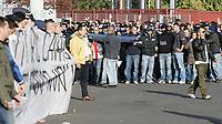 """Milano 11/11/07 Stadio """"Giuseppe Meazza"""" <br /> Campionato Italiano Serie A 2007/08 (Match Day 12)<br /> Inter-Lazio<br /> i tifosi interisti protestano contro il ministro Amato con uno striscione e con cori di insulto, intanto la Partita è stata sospesa per la morte dei un tifoso laziale in autogrill.<br /> La polizia lascia lostadio Meazza, timorosa che le tifoserie gemellate di Inter e Lazio possano cercare vendetta contro gli agenti presenti allo stadio Meazza<br /> Photographer:Jennifer Lorenzini/INSIDE"""