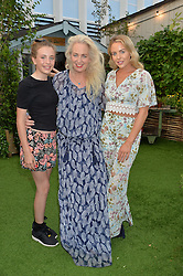 Left to right, ROMANA BRIGHT, DEBBIE BRIGHT and LYDIA BRIGHT at a vintage fashion pop-up evening hosted by Dawn O'Porter at The Gardening Society, John Lewis, Oxford Street on 27th July 2016.