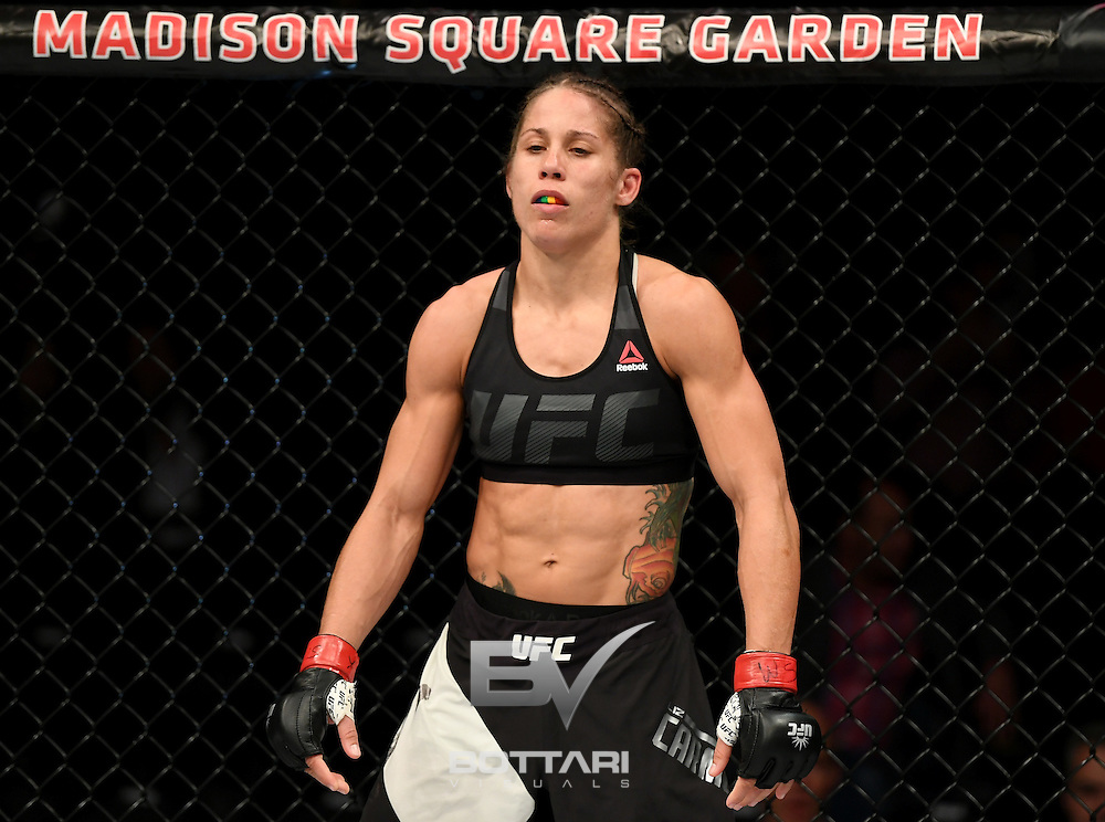 NEW YORK, NY - NOVEMBER 12:  Liz Carmouche of the United States looks on against Katlyn Chookagian of the United States in their women's bantamweight bout during the UFC 205 event at Madison Square Garden on November 12, 2016 in New York City.  (Photo by Jeff Bottari/Zuffa LLC/Zuffa LLC via Getty Images)