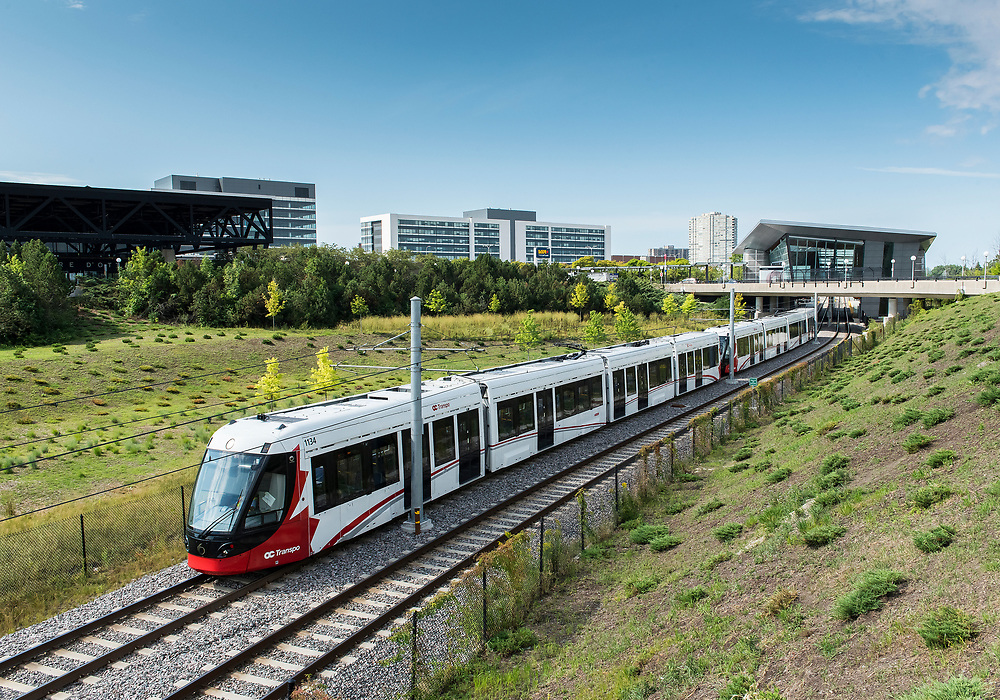 Alstom Citadis Spirit trains prior to the opening of the new Confederation Line of the Light Rail Service in Ottawa, ON. Canada.<br /> <br /> August 2019<br /> <br /> PHOTO: Steve Kingsman For Alstom Canada
