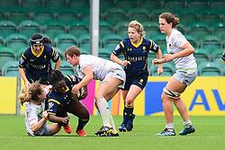 Akina Gondwe of Worcester Valkyries is tackled by Kat Evans of Saracens Ladies  - Mandatory by-line: Craig Thomas/JMP - 30/09/2017 - RUGBY - Sixways Stadium - Worcester, England - Worcester Valkyries v Saracens Women - Tyrrells Premier 15s