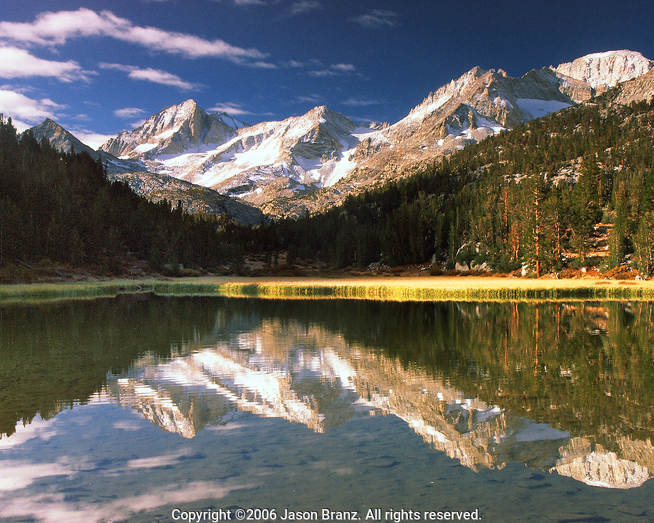 Early morning on an alpine lake in Little Lakes Valley, Inyo County, California.