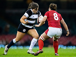 Silvia Turani of Barbarians under pressure from Siwan Lillicrap of Wales<br /> <br /> Photographer Simon King/Replay Images<br /> <br /> Friendly - Wales v Barbarians - Saturday 30th November 2019 - Principality Stadium - Cardiff<br /> <br /> World Copyright © Replay Images . All rights reserved. info@replayimages.co.uk - http://replayimages.co.uk