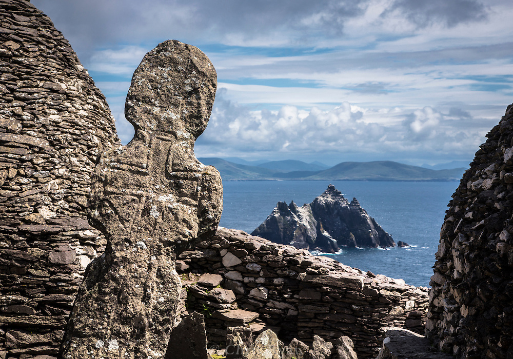 Tombstone at the Monk's Graveyard, Skellig Michael, County Kerry, Ireland