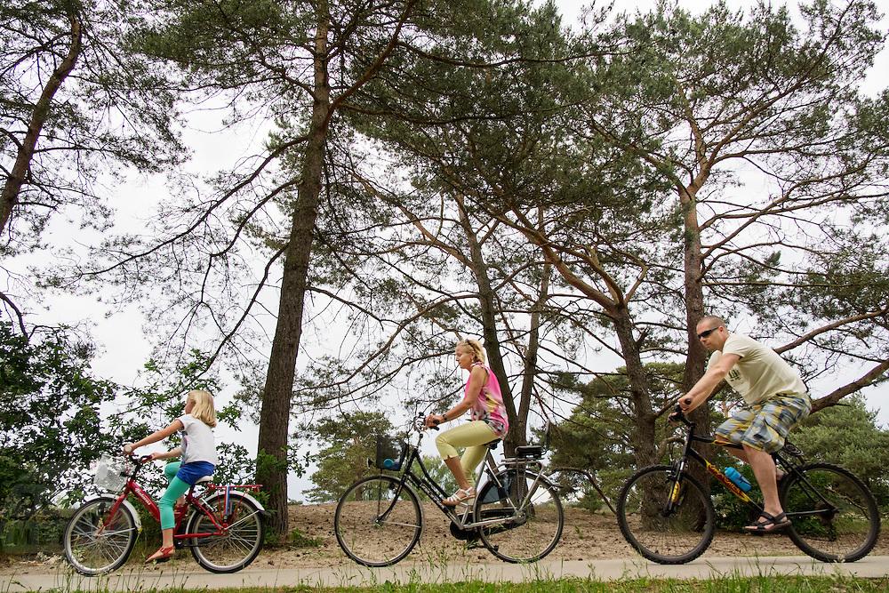 Bij Soest fietst een gezin langs het natuurgebied.<br /> <br /> Near Soest a family is cycling at the nature reserve.