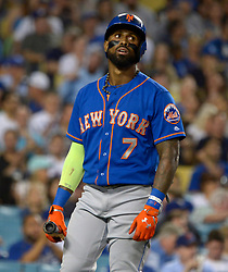 June 21, 2017 - Los Angeles, California, U.S. - New York Mets' Jose Reyes reacts after striking out swinging against the Los Angeles Dodgers in the fourth inning of a Major League baseball game at Dodger Stadium on Wednesday, June 21, 2017 in Los Angeles. Los Angeles. (Photo by Keith Birmingham, Pasadena Star-News/SCNG) (Credit Image: © San Gabriel Valley Tribune via ZUMA Wire)