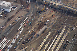 New Haven Rail Yard, Independent Wheel True Facility. CT-DOT Project # 0300-0139, New Haven CT..Aerial Photograph of Construction Progress on 22 February 2012.
