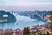 Oporto, December 2012.Arrabida bridge on concrete, Edgar Cardoso 1963, 615 meters over Douro river.