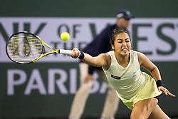 March 08, 2018: Zarina Diyas (KAZ) defeated by Serena Williams (USA) 7-5, 6-3 at the BNP Paribas Open played at the Indian Wells Tennis Garden in Indian Wells, California. ©Mal Taam/TennisClix/CSM/Sipa USA(Credit Image: © Mal Taam/CSM/Sipa USA)