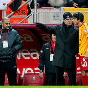Galatasaray's coach Fatih Terim (C) and Berk Yildiz (R) during their Turkey Cup matchday 3 soccer match Galatasaray between AdanaDemirspor at the Turk Telekom Arena at Aslantepe in Istanbul Turkey on Tuesday 10 January 2012. Photo by TURKPIX
