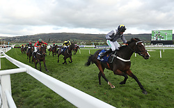 Thomas Campbell ridden by Nico de Boinville wins the Pertemps Network Handicap hurdle during day two of the Showcase at Cheltenham Racecourse