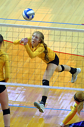 23 November 2017:  Allison Ketcham hustles to get a dig during a college women's volleyball match between the Valparaiso Crusaders and the Illinois State Redbirds in the Missouri Valley Conference Tournament at Redbird Arena in Normal IL (Photo by Alan Look)