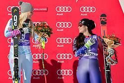 20.01.2018, Olympia delle Tofane, Cortina d Ampezzo, ITA, FIS Weltcup Ski Alpin, Abfahrt, Damen, Siegerehrung im Bild v.l: Siegerin Lindsey Vonn (USA), Jacqueline Wiles (USA, 3. Platz) // f.l.: Winner Lindsey Vonn of the USA, 3rd placed Jacqueline Wiles of the USA during the Winner Award Ceremony of ladie' s downhill of the Cortina FIS Ski Alpine World Cup at the Olympia delle Tofane course in Cortina d Ampezzo, Italy on 2018/01/20. EXPA Pictures © 2018, PhotoCredit: EXPA/ Dominik Angerer