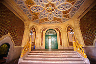 The entrance hall of Art Nouveau Museum of Applied Arts with Zolnay tiles & ceramic hand rails. Budapest Hungary