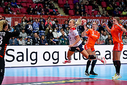 06-12-2019 JAP: Norway - Netherlands, Kumamoto<br /> Last match groep A at 24th IHF Women's Handball World Championship. / The Dutch handball players won in an exciting game of fear gegner Norway and wrote in the last group match at the World Handball  World Championship history (30-28). / Danick Snelder #10 of Netherlands, Lois Abbingh #8 of Netherlands, Merel Freriks #19 of Netherlands, Tess Wester #33 of Netherlands