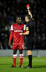 Leyton Orient's Anthony Griffith is sent off after receiving a second yellow card - Photo mandatory by-line: Dougie Allward/JMP - Tel: Mobile: 07966 386802 09/01/2013 - SPORT - FOOTBALL - Matchroom Stadium - London -  Leyton Orient v Yeovil Town - Johnstone's Paint Trophy Southern area semi-final.
