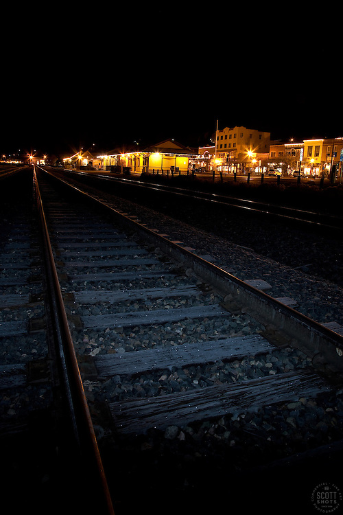 """""""Downtown Truckee Tracks""""- These railroad tracks were photographed in Downtown Truckee, in the early morning."""