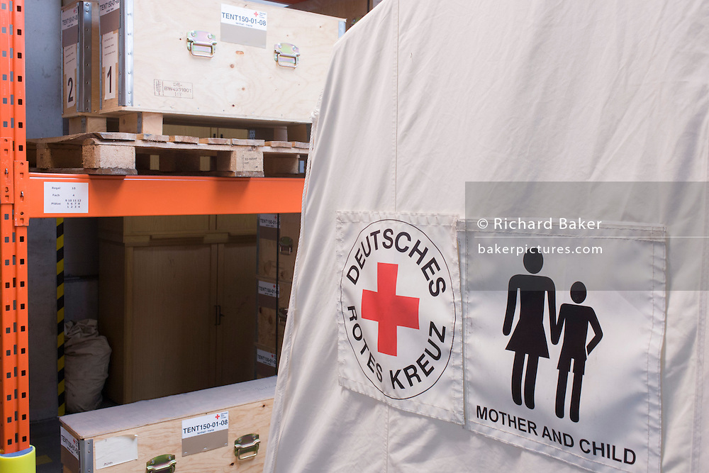 Tents in emergency supplies warehouse, Deutsches Rotes Kreuz (DRK - German Red Cross) at their logistics centre at Berlin-Schönefeld airport.