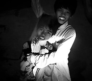 Potrait of two young Cambodian brothers, Phnom Penh, Cambodia, Southeast Asia
