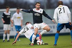 Morton's David Robertson and Falkirk's Mark Millar.<br /> Falkirk 1 v 1 Morton, Scottish Championship game today at The Falkirk Stadium.<br /> © Michael Schofield.