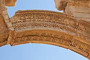 Keystone of Monumental Arch, Palmyra, Syria. Ancient city in the desert that fell into disuse after the 16th century.