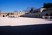 Tour group in courtyard at Beit Eddine, Beit ed-Dine, Beiteddine Palace of Emir Bashir, Chouf, Lebanon 1998