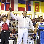 2. WOMEN'S WORLD BOXING CHAMPIONSHIPS.<br /> Turkey's Yasemin Ustalara (L) semi final  winner. Dilek Sabanci Sport Hall Antalya/Turkey<br /> Photo by Aykut AKICI/TurkSporFoto