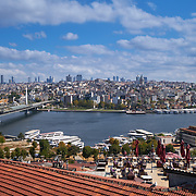 Panoramic view of Golden Horn, Metro and Galata bridge, Istanbul, Turkey