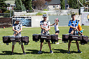 The Oregon Marching Band practices at the Calgary Christian School in Alberta, Canada on July 9, 2011.