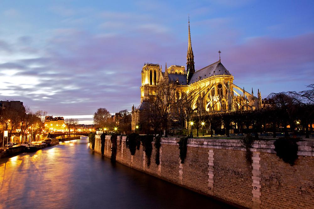 Notre Dame cathedral, Paris. View from pont de l'archevêché.<br /> Photo by Lorenz Berna