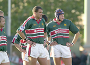 Leicester, Welford Road, Leicestershire, 30/09/2001,Tigers lock, [L] Martin JOHNSON and [R] Ben KAY, during the,  Heineken Cup, match, Leicester Tigers vs Llanelli, Heineken Cup,<br /> [Mandatory Credit: Peter Spurrier/Intersport Images],<br /> Leicester Tigers v Llanelli Euro Cup  <br /> 29/9/01