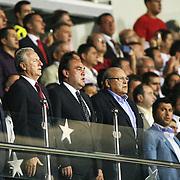 Yildirim Demiroren and TFF team during the National march on beginning of the Turkish Super Cup 2012 soccer derby match Galatasaray between Fenerbahce at the Kazim Karabekir stadium in Erzurum Turkey on Sunday, 12 August 2012. Photo by TURKPIX