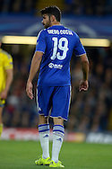 Diego Costa of Chelsea looking on . UEFA Champions League group G match, Chelsea v Maccabi Tel Aviv at Stamford Bridge in London on Wednesday 16th September 2015.<br /> pic by John Patrick Fletcher, Andrew Orchard sports photography.