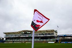 Remembrance Day corner flag at the Memorial Stadium - Rogan/JMP - 14/11/2020 - FOOTBALL - Memorial Stadium - Bristol, England - Bristol Rovers v Fleetwood Town - Sky Bet League 1.