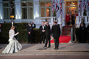 Prince Albert II of Monaco and his fiancee Charlene Wittstock arrives Gala pre-royal  wedding dinner held at the Mandarin Oriental Hyde Park. LONDON.  on April 28-DO NOT ARCHIVE-© Copyright Photograph by Dafydd Jones. 248 Clapham Rd. London SW9 0PZ. Tel 0207 820 0771. www.dafjones.com.